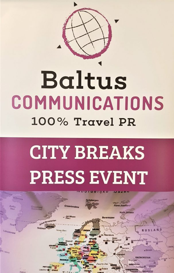 City Break Press Event banner door Baltus Communications